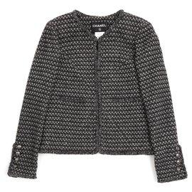 Chanel-BLACK GRAY FR40-Black,Silvery,Dark grey