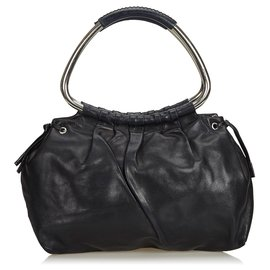 Prada-Prada Black Leather Ring Handbag-Black