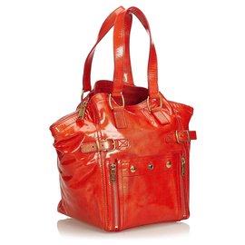 Yves Saint Laurent-Sac cabas en cuir verni rouge YSL-Rouge