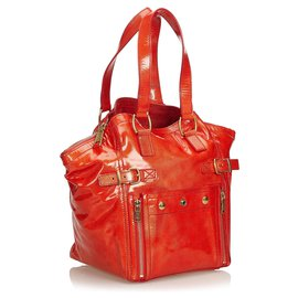 Yves Saint Laurent-YSL Red Patent Leather Downtown Tote-Red