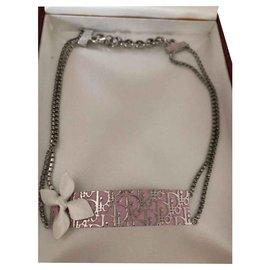 Christian Dior-Halsketten-Silber,Pink