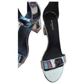 Balenciaga-Sandals-Silvery