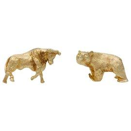 """Cartier-Cartier cuff links, """"Bull & Bear"""", yellow gold 14K.-Other"""