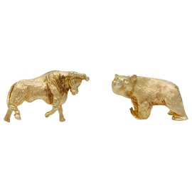 "Cartier-Boutons de manchette Cartier, ""Bull & Bear"", or jaune 14K.-Autre"