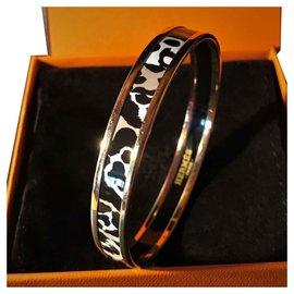 Hermès-Hermès Gold Plated Bracelet 18 carats and enamel color Leopard-Leopard print