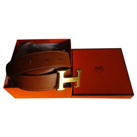 Hermès-Ceinture cuir boucle H-Caramel