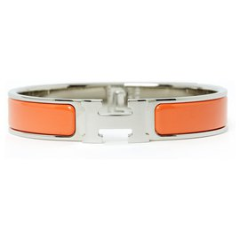 Hermès-CLIC H FIN GM SILVER TANGERINE-Argenté,Orange