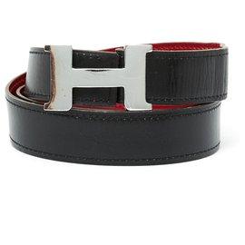 Hermès-BELT T80/85 H 2 TONES 2 BUCKLES-Noir,Argenté,Rouge,Doré