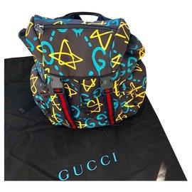 Gucci-Sac à dos GUCCI Ghost en toile, lanières web Gucci-Noir