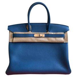 Hermès-Birkin 35 blue Agathe Clémence-Bleu