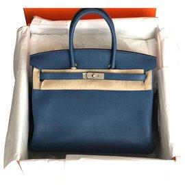 Hermès-Birkin 35 blue Agathe Clémence-Blue