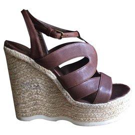 Yves Saint Laurent-très belles  sandales compensées Yves Saint Laurent, excellent état-Caramel