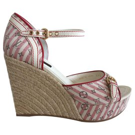 c98f0f4f27 Louis Vuitton-Mini Lin Croisette Monogram Wedge Sandal-Red,Beige ...