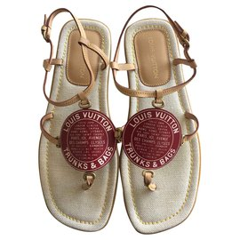Louis Vuitton-Globe Trunks & Bags sandals-Red,Beige