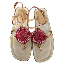 Louis Vuitton-Sandales Globe Trunks & Bags-Rouge,Beige