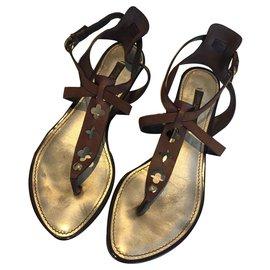 Louis Vuitton-Daim cuir découpé sandales serpentine-Marron