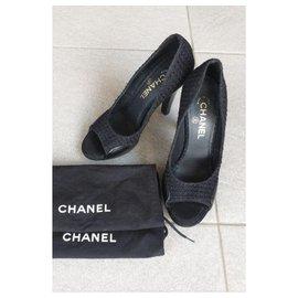 Chanel-Chanel Black leather and tweed heels EU39-Black