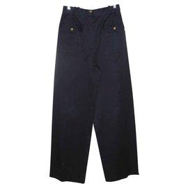Chanel-Chanel Pantalon taille haute Collection été 1989 superbe-Bleu Marine