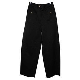 Chanel-Chanel Pantalon taille haute Collection été 1989 Superbe-Noir