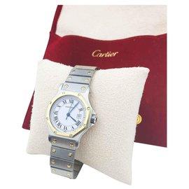 Cartier-Cartier Santos Octagonal Large Model-Silvery,Golden