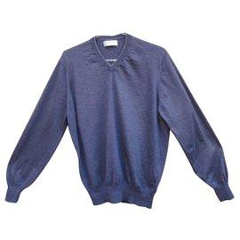 Brunello Cucinelli-pull léger Brunello Cuccinelli cachemire et soie-Bleu