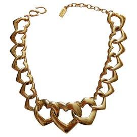 Yves Saint Laurent-Yves Saint Laurent Herz-Link-Halskette-Golden