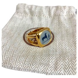Hermès-Hermès ring with gold signet ring-Golden