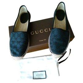 Gucci-Espadrille en toile GUCCI Signature-Noir