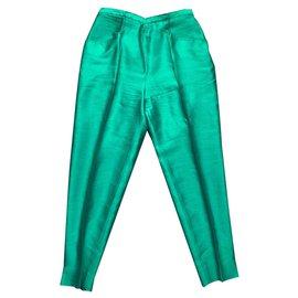 Burberry-Pants, leggings-Dark green