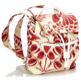 Gucci-Sac à dos en nylon blanc Gucci-Blanc,Rouge