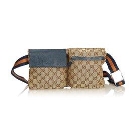 21467adc67d4 Gucci-Gucci Brown GG Jacquard Belt Bag-Brown