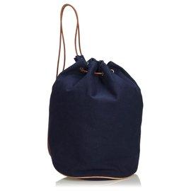 Hermès-Sac à dos Hermes en toile Polochon Mimile bleu-Marron,Bleu,Bleu Marine