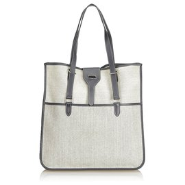 Hermès-Hermes White Canvas Tote Bag-White,Other,Grey,Cream