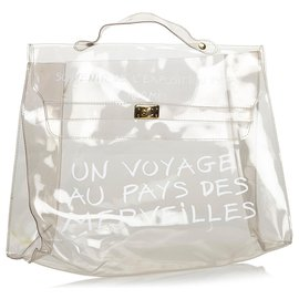 Hermès-Hermes White Vinyl Kelly Handbag-White