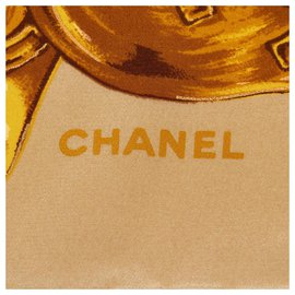 Chanel-Chanel Brown Camellia Silk Scarf-Brown,Multiple colors,Beige