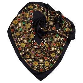 Chanel-Chanel Black Printed Silk Scarf-Black,Multiple colors