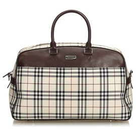 Burberry-Burberry Brown House Check Jacquard Travel Bag-Brown,Multiple colors,Beige