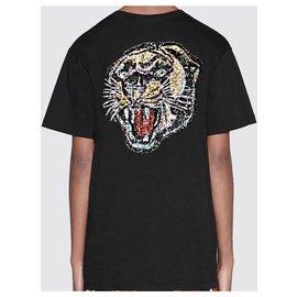Gucci-T-shirt oversize avec logo Gucci en sequins TAILLE M neuf avec étiquettes-Noir