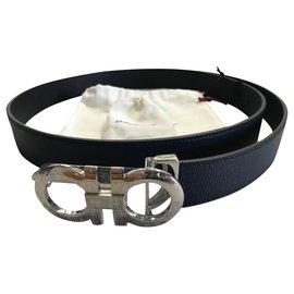 Salvatore Ferragamo-Salvatore Ferragamo, new black belt reversible ferragamo salvatore-Black,Blue
