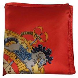 Hermès-HERMÈS CARRÉ * Lebendes Museum von Chantilly Horse *-Rot