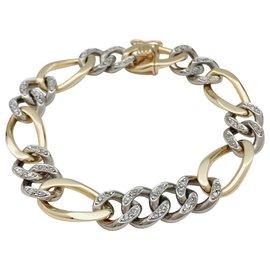 inconnue-Bracelet gourmette en or blanc et jaune, diamants.-Autre