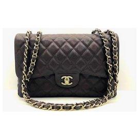 Chanel-Chanel Dark Brown Caviar Jumbo classic flap-Dark brown