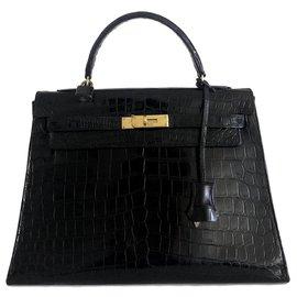 Hermès-hermes kelly 32 black crocodile-Black