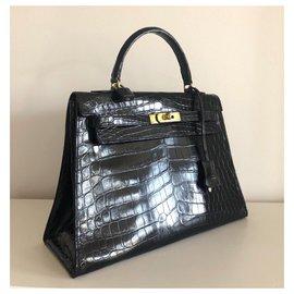 Hermès-Hermes Kelly 32 Crocodile noir-Noir