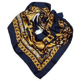 Chanel-Foulard en soie imprimée bleu Chanel-Bleu,Doré,Bleu Marine