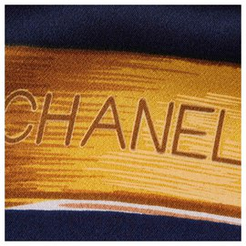 Chanel-Chanel Blue Printed Silk Scarf-Blue,Golden,Navy blue