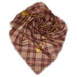 Chanel-Chanel Brown Plaid Cashmere Silk Scarf-Brown,Multiple colors,Beige