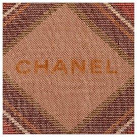 Chanel-Chanel Écharpe en soie cachemire écossaise-Marron,Multicolore,Beige