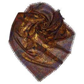 Chanel-Foulard en soie imprimée brun Chanel-Marron,Multicolore,Marron foncé