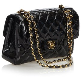 Chanel-Chanel Black Classic Small Patent Leather lined Sided Bag-Black